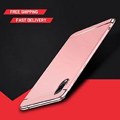 Coque Bumper Luxe Metal et Plastique Etui Housse M01 pour Huawei Y7 Pro (2019) Or Rose