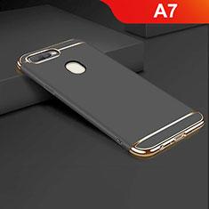 Coque Bumper Luxe Metal et Plastique Etui Housse M01 pour Oppo A7 Noir