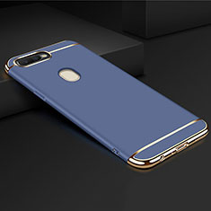 Coque Bumper Luxe Metal et Plastique Etui Housse M01 pour Oppo AX7 Bleu