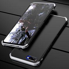 Coque Bumper Luxe Metal et Plastique Etui Housse M01 pour Oppo K1 Argent