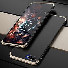 Coque Bumper Luxe Metal et Plastique Etui Housse M01 pour Oppo K1 Or et Noir