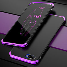 Coque Bumper Luxe Metal et Plastique Etui Housse M01 pour Oppo K1 Violet