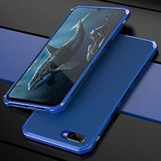 Coque Bumper Luxe Metal et Plastique Etui Housse M01 pour Oppo R17 Neo Bleu