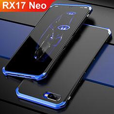 Coque Bumper Luxe Metal et Plastique Etui Housse M01 pour Oppo RX17 Neo Bleu et Noir