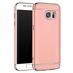 Coque Bumper Luxe Metal et Plastique Etui Housse M01 pour Samsung Galaxy S7 G930F G930FD Or Rose