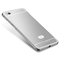 Coque Bumper Luxe Metal et Silicone Etui Housse M01 pour Xiaomi Mi 4C Argent