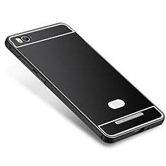 Coque Bumper Luxe Metal et Silicone Etui Housse M01 pour Xiaomi Mi 4C Noir