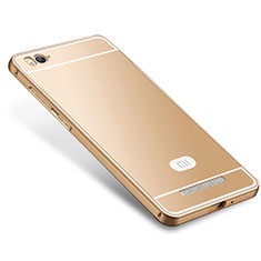 Coque Bumper Luxe Metal et Silicone Etui Housse M01 pour Xiaomi Mi 4C Or
