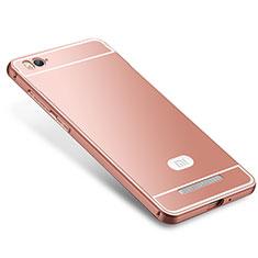 Coque Bumper Luxe Metal et Silicone Etui Housse M01 pour Xiaomi Mi 4C Or Rose