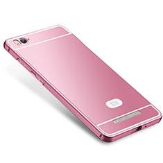 Coque Bumper Luxe Metal et Silicone Etui Housse M01 pour Xiaomi Mi 4C Rose