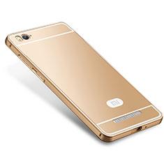 Coque Bumper Luxe Metal et Silicone Etui Housse M01 pour Xiaomi Mi 4i Or