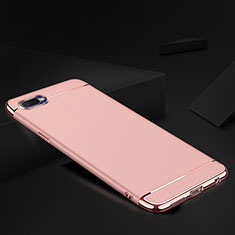 Coque Bumper Luxe Metal et Silicone Etui Housse M02 pour Oppo R17 Neo Or Rose