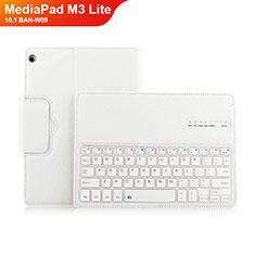 Coque Clapet Portefeuille Livre Cuir avec Clavier L01 pour Huawei MediaPad M3 Lite 10.1 BAH-W09 Blanc