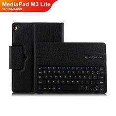 Coque Clapet Portefeuille Livre Cuir avec Clavier L01 pour Huawei MediaPad M3 Lite 10.1 BAH-W09 Noir