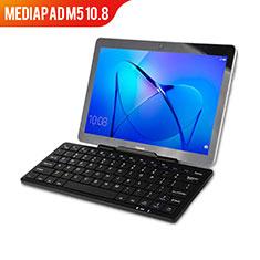 Coque Clapet Portefeuille Livre Cuir avec Clavier L01 pour Huawei MediaPad M5 10.8 Noir
