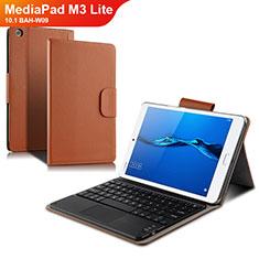 Coque Clapet Portefeuille Livre Cuir avec Clavier L02 pour Huawei MediaPad M3 Lite 10.1 BAH-W09 Blanc