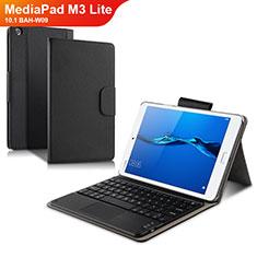Coque Clapet Portefeuille Livre Cuir avec Clavier L02 pour Huawei MediaPad M3 Lite 10.1 BAH-W09 Noir