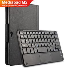 Coque Clapet Portefeuille Livre Cuir avec Clavier pour Huawei MediaPad M2 10.0 M2-A01 M2-A01W M2-A01L Noir