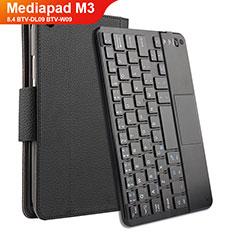 Coque Clapet Portefeuille Livre Cuir avec Clavier pour Huawei Mediapad M3 8.4 BTV-DL09 BTV-W09 Noir