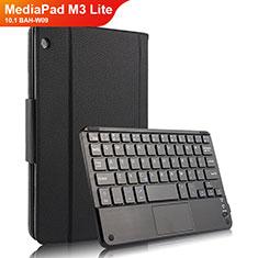 Coque Clapet Portefeuille Livre Cuir avec Clavier pour Huawei MediaPad M3 Lite 10.1 BAH-W09 Noir