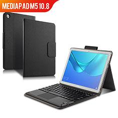 Coque Clapet Portefeuille Livre Cuir avec Clavier pour Huawei MediaPad M5 10.8 Noir