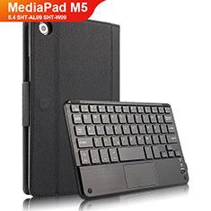 Coque Clapet Portefeuille Livre Cuir avec Clavier pour Huawei MediaPad M5 8.4 SHT-AL09 SHT-W09 Noir