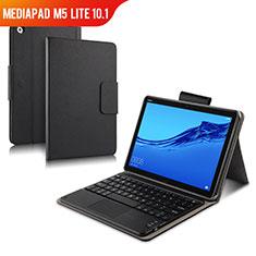 Coque Clapet Portefeuille Livre Cuir avec Clavier pour Huawei MediaPad M5 Lite 10.1 Noir