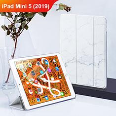 Coque Clapet Portefeuille Livre Cuir L01 pour Apple iPad Mini 5 (2019) Blanc