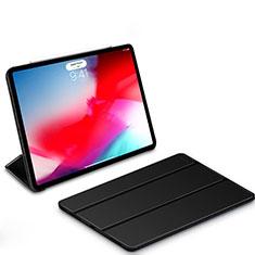 Coque Clapet Portefeuille Livre Cuir L01 pour Apple iPad Pro 11 (2018) Noir