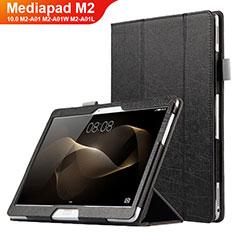 Coque Clapet Portefeuille Livre Cuir L01 pour Huawei MediaPad M2 10.0 M2-A01 M2-A01W M2-A01L Noir