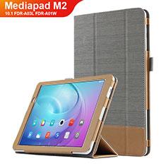 Coque Clapet Portefeuille Livre Cuir L01 pour Huawei MediaPad M2 10.1 FDR-A03L FDR-A01W Gris