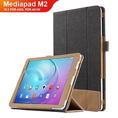 Coque Clapet Portefeuille Livre Cuir L01 pour Huawei MediaPad M2 10.1 FDR-A03L FDR-A01W Noir