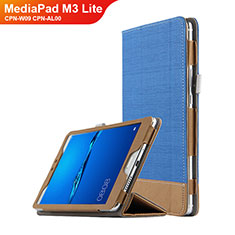 Coque Clapet Portefeuille Livre Cuir L01 pour Huawei MediaPad M3 Lite 8.0 CPN-W09 CPN-AL00 Bleu