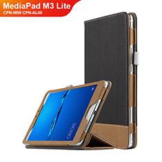 Coque Clapet Portefeuille Livre Cuir L01 pour Huawei MediaPad M3 Lite 8.0 CPN-W09 CPN-AL00 Noir