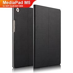 Coque Clapet Portefeuille Livre Cuir L01 pour Huawei MediaPad M5 8.4 SHT-AL09 SHT-W09 Noir
