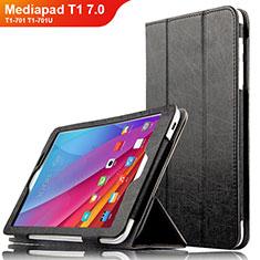 Coque Clapet Portefeuille Livre Cuir L01 pour Huawei Mediapad T1 7.0 T1-701 T1-701U Noir