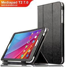 Coque Clapet Portefeuille Livre Cuir L01 pour Huawei Mediapad T2 7.0 BGO-DL09 BGO-L03 Noir