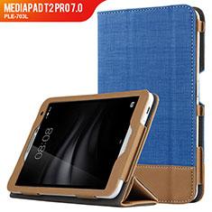 Coque Clapet Portefeuille Livre Cuir L01 pour Huawei MediaPad T2 Pro 7.0 PLE-703L Bleu