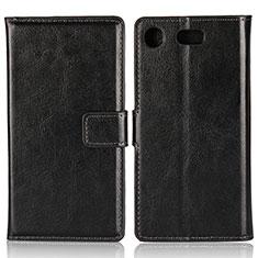 Coque Clapet Portefeuille Livre Cuir L01 pour Sony Xperia XZ1 Compact Noir