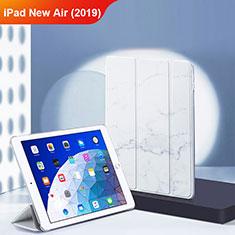 Coque Clapet Portefeuille Livre Cuir L02 pour Apple iPad Air 3 Blanc