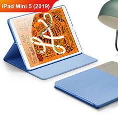 Coque Clapet Portefeuille Livre Cuir L02 pour Apple iPad Mini 5 (2019) Bleu Ciel