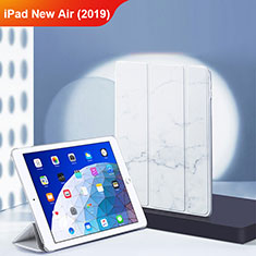 Coque Clapet Portefeuille Livre Cuir L02 pour Apple iPad New Air (2019) 10.5 Blanc