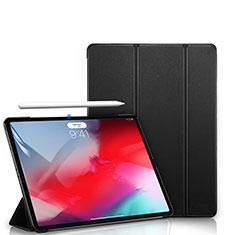 Coque Clapet Portefeuille Livre Cuir L02 pour Apple iPad Pro 12.9 (2018) Noir