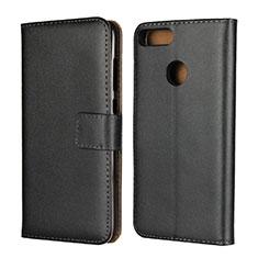 Coque Clapet Portefeuille Livre Cuir L02 pour Huawei Honor 9 Lite Noir