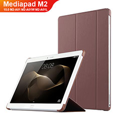 Coque Clapet Portefeuille Livre Cuir L02 pour Huawei MediaPad M2 10.0 M2-A01 M2-A01W M2-A01L Marron