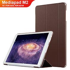 Coque Clapet Portefeuille Livre Cuir L02 pour Huawei MediaPad M2 10.1 FDR-A03L FDR-A01W Marron