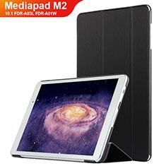 Coque Clapet Portefeuille Livre Cuir L02 pour Huawei MediaPad M2 10.1 FDR-A03L FDR-A01W Noir