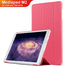 Coque Clapet Portefeuille Livre Cuir L02 pour Huawei MediaPad M2 10.1 FDR-A03L FDR-A01W Rouge