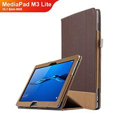 Coque Clapet Portefeuille Livre Cuir L02 pour Huawei MediaPad M3 Lite 10.1 BAH-W09 Marron