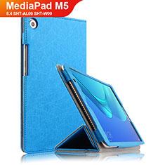 Coque Clapet Portefeuille Livre Cuir L02 pour Huawei MediaPad M5 8.4 SHT-AL09 SHT-W09 Bleu